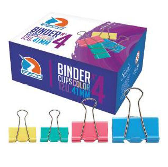 Imagen de BINDER CLIPS COLOR 19 MM - N°1 (CAJITA POR 12 UNIDADES)