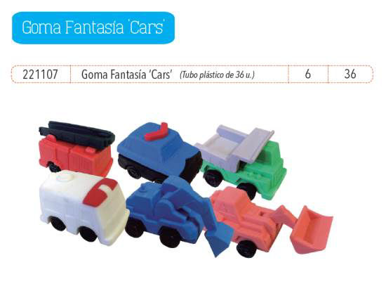 Imagen de GOMAS FANTASÍA CARS (TUBO PLÁSTICO X 36 UNIDADES)