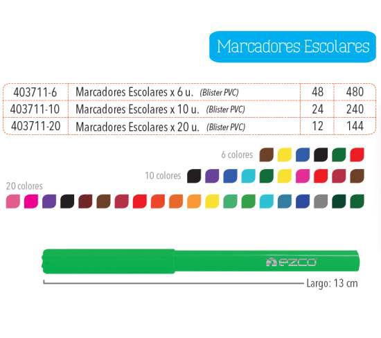 Imagen de MARCADORES ESCOLARES X 10 UNIDADES (BLISTER PVC)