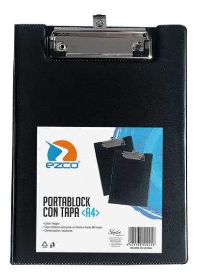 Imagen de PORTABLOCK CON TAPA A4 NEGRO (CARTÓN FORRADO CON TELA PLÁSTICA)